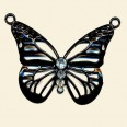 Black Butterfly Pendant with Crystals - 45mm x 40mm