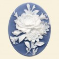 Blue Flower Plastic Cameo - 40mm x 30mm