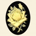Black Rose Plastic Cameo - 40mm x 30mm