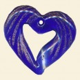 Glass Blue Heart Pendant - 40mm