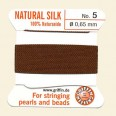 Brown 100% Silk Thread and Needle - Pack