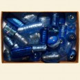 Blue Glass Silver Foil Assorted Beads - 100 Gram Pack