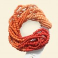 "Orange Glass Seed Beads - 15"" String"