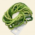 "Lime/Green Glass Seed Beads - 15"" String"