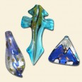 Glass Silver Foil Pendants - Pack of 3