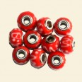 Orange Pandora Style Glass Bead with Metal Inserts - 15mm - Pack of 10