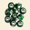 Green Pandora Style Glass Bead with Metal Inserts - 15mm - Pack of 10