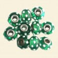 Green Spotty Pandora Style Glass Bead with Metal Inserts  - 15mm - Pack of 10