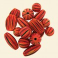 Hand Painted Orange Wood Bead Bag - 100 Gram Pack