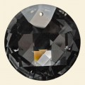 Grey Glass Crystal Faceted Disc Pendant - 45mm