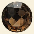 Brown Glass Crystal Faceted Disc Pendant - 45mm