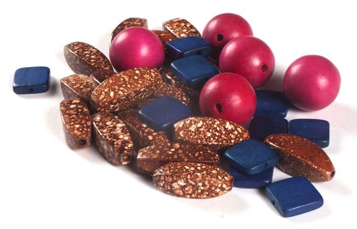 Coloured Wood Beads