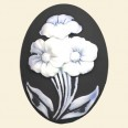 Black Flower Plastic Cameo - 40mm x 30mm