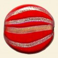 Red Hand Painted Glass Flat Disc Beads - 28mm