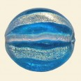 Blue Hand Painted Glass Flat Disc Beads - 28mm