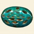 Teal Blue Filigree Flat Oval Bead - 30mm x 20mm