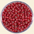 Red Glass Rocailles (Silver Lined) - Packs of 8/0 Larger