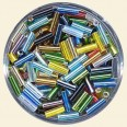 Mixed Colour Glass Bugles - Packs of 8mm x 2mm