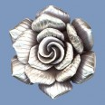 Thai Silver Rose Pendant - 40mm