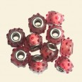 Red/Pink Pandora Style Glass Beads with Metal Inserts - 15mm - Pack of 10