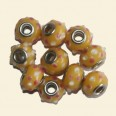 Yellow Pandora Style Glass Beads with Metal Inserts   - 15mm - Pack of 10