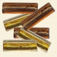 Mixed Brown/Topaz Silver Foil Glass Flat Tube Beads - 24mm x 10mm - Pack of 10