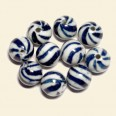 Chinese Porcelain Striped Beads - 12mm - Pack of 10