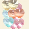 Preciosa Mixed Colour Glass Faceted Heart Pendant - 14mm - Pack of 10