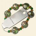 Green Glass Assorted Bead String