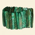Green Shell Chip Elasticated Bracelet - 45mm x 8mm
