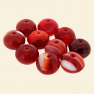 Red Glass Cushion Beads - 10mm - Pack of 10