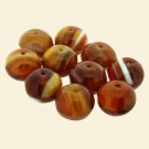 Brown Glass Cushion Beads - 10mm - Pack of 10